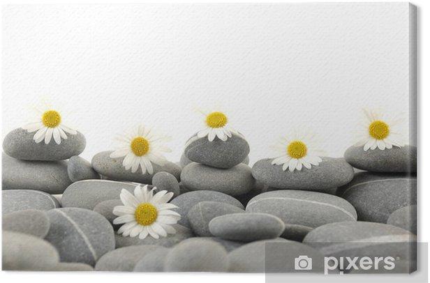 Tableau sur toile Galets naturels avec ensemble de marguerite blanche - Beauté et soins du corps