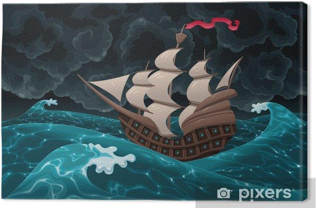 Tableau Sur Toile Galleon Dans La Mer Avec La Tempete Dessin Anime Et Vecteur Pixers Nous Vivons Pour Changer
