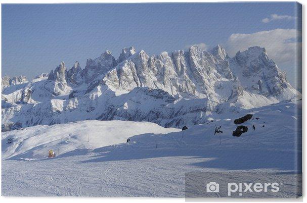 Tableau sur toile Gamme pâle et pistes de ski, Dolomites - Europe