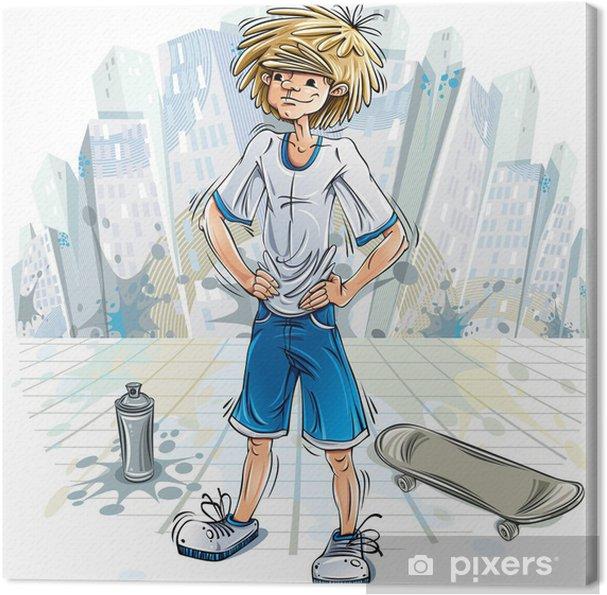 Tableau sur toile Garçon d'adolescent avec le jet peut et skateboard. - Destin