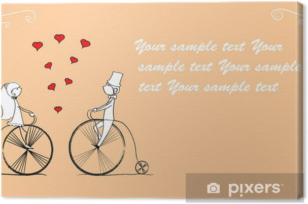 Tableau sur toile Garçon et fille aime faire du vélo, vecteur - Sur la route