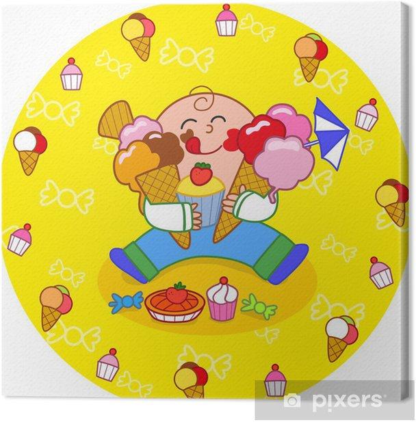 Tableau sur toile Garçon mangeant des bonbons - Desserts et friandises
