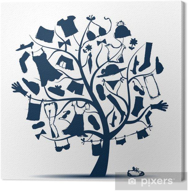Tableau sur toile Garde-robe, les vêtements sur l'arbre pour votre conception - Mode