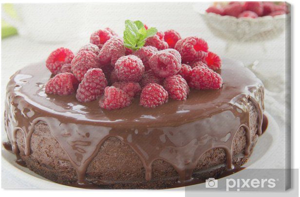 Tableau sur toile Gâteau au chocolat avec framboises. - Thèmes