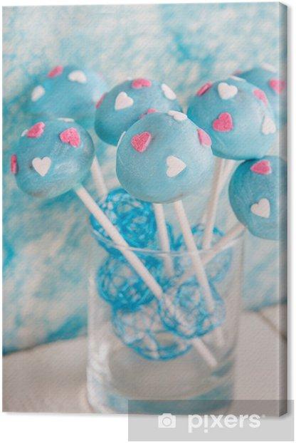 Tableau sur toile Gâteau de mariage apparaît en bleu blanc et doux. - Desserts et friandises