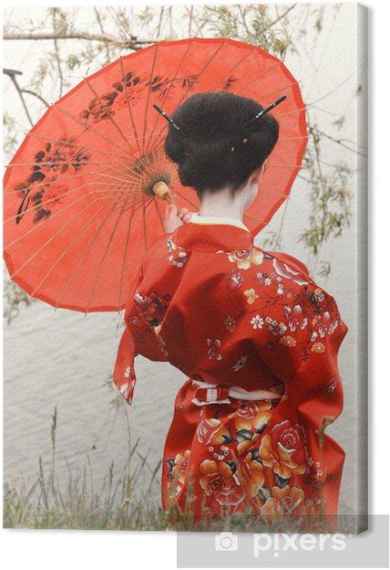 Geisha De Dos tableau sur toile geisha avec le parapluie rouge à la rivière (vue
