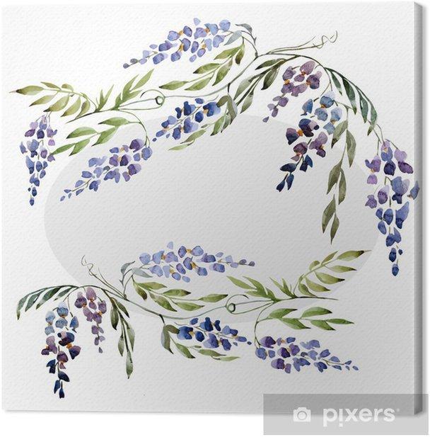 Tableau sur toile Glycines, papier peint, aquarelle - Fleurs