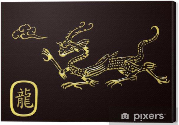 Tableau sur toile Gold dragon - Signes et symboles