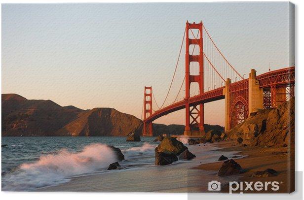 Tableau sur toile Golden Gate Bridge à San Francisco au coucher du soleil - Thèmes
