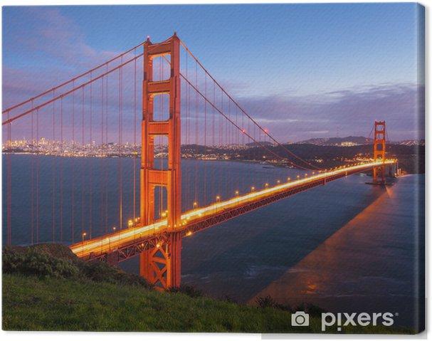 Tableau sur toile Golden Gate Bridge au coucher du soleil - Continents
