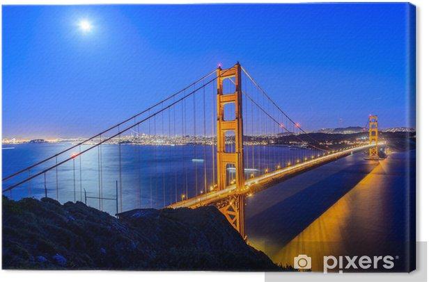 Tableau sur toile Golden gate bridge la nuit à San Francisco - Infrastructures