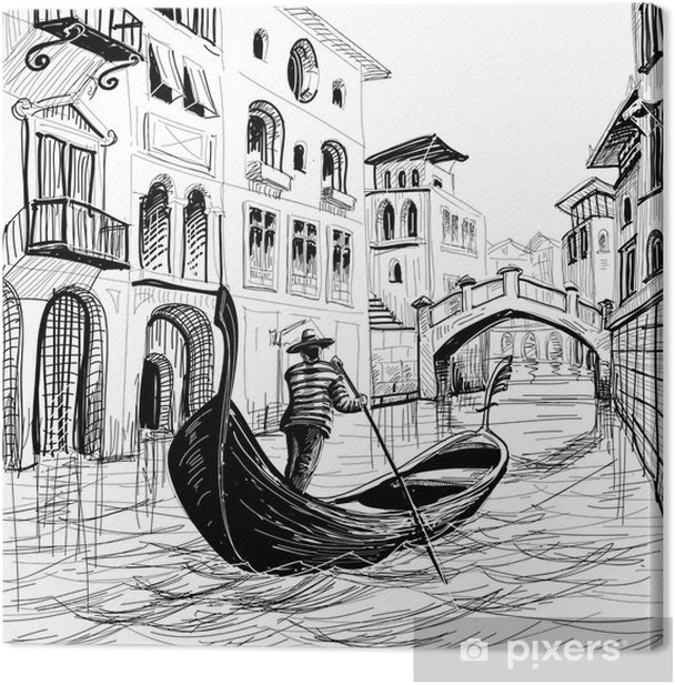 Tableau sur toile Gondole à Venise vecteur sketch - Thèmes