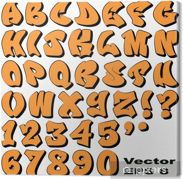 Tableau sur toile Graffiti lettres et des chiffres - Thèmes