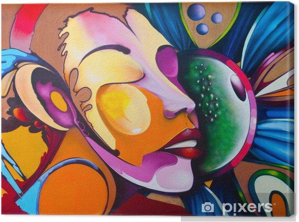 Tableau sur toile Graffiti visage -