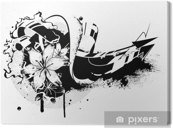 Tableau sur toile Graffitis Floral - Abstrait