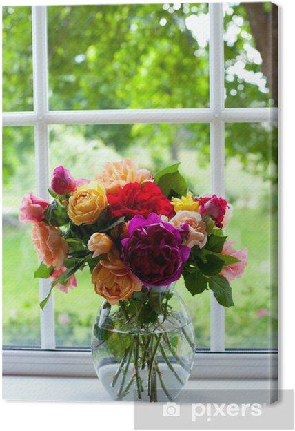 Tableau sur toile Grand vase de roses colorées - Fleurs