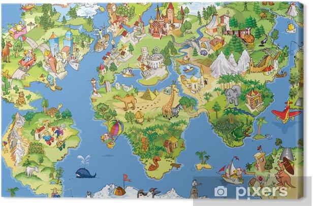 Tableau sur toile Grande carte du monde et drôle -