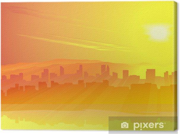 Tableau sur toile Grande ville de skyscrape contre le lever du soleil. - Ciel
