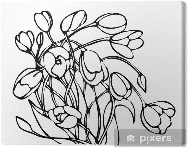 Tableau Sur Toile Graphiques En Noir Et Blanc Vecteur Dessin Bouquet De Tulipes