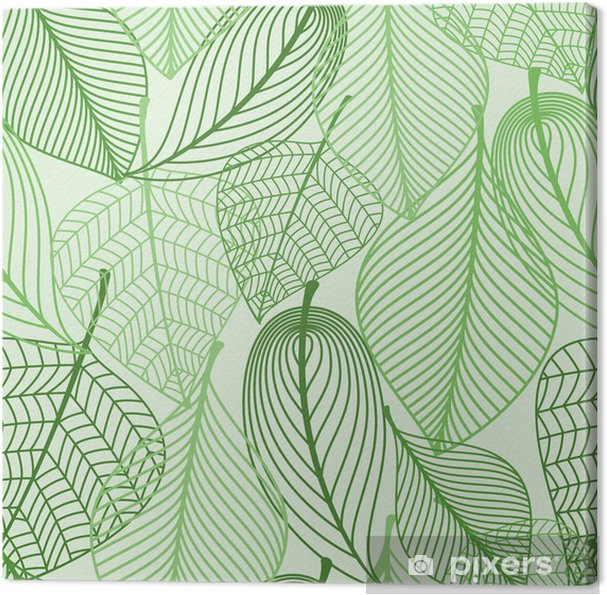 Tableau sur toile Green leaves seamless fond - Styles