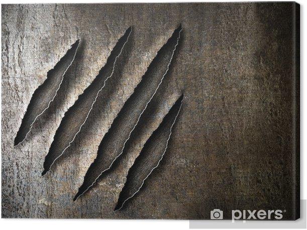 Tableau sur toile Griffes rayures marques sur plaque de métal rouillé - Styles