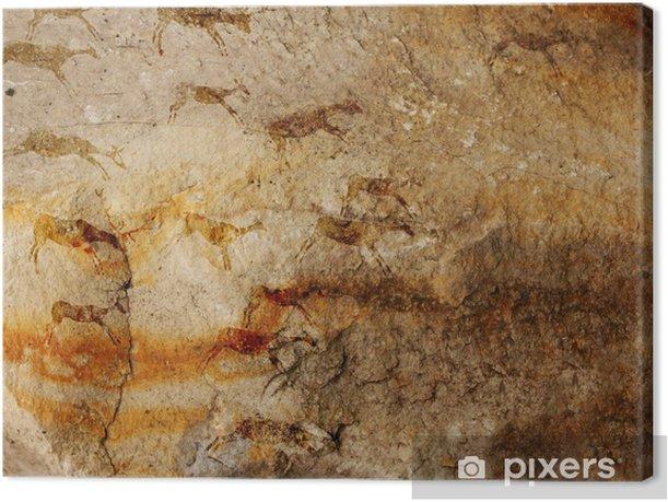 Tableau sur toile Grotte de mur avec des dessins de la personne primitive - Art et création