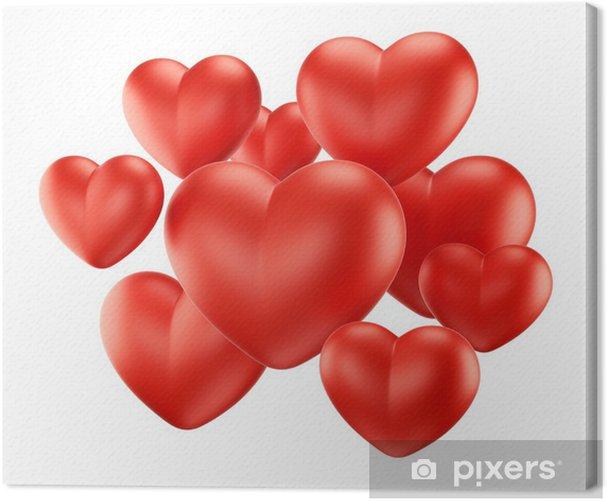 Tableau sur toile Groupe de coeurs rouges - Bonheur