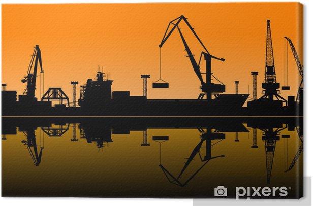 Tableau sur toile Grues de travail dans les ports de la mer - Industrie lourde