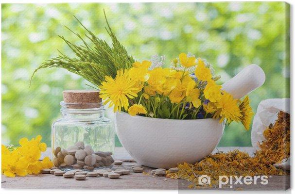 Tableau sur toile gu rison herbes dans le mortier et la bouteille avec des pilules sur la table - La bouteille sur la table ...