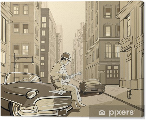 Tableau sur toile Guitariste dans une vieille rue de New york - Jazz