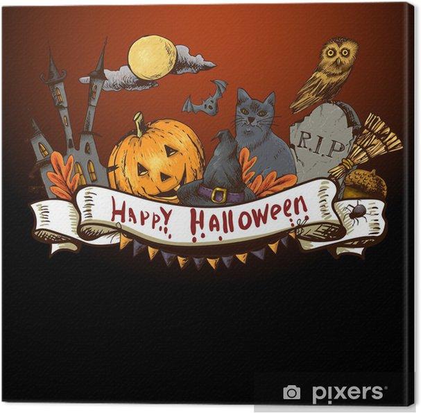 Tableau sur toile Halloween Hand-drawn Carte d'invitation - Signes et symboles
