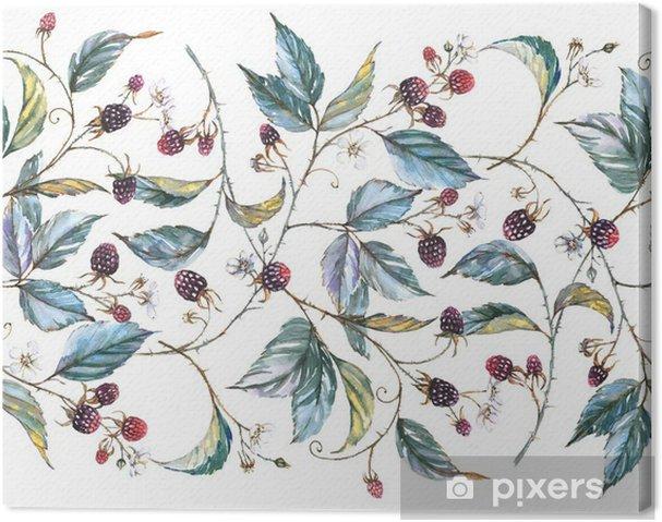 Tableau sur toile Hand-drawn aquarelle seamless ornament avec des motifs naturels: branches mûres, les feuilles et les baies. illustration décorative répétée, frontière avec les baies et les feuilles -