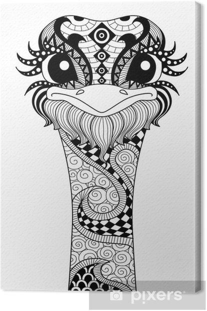 Tableau Sur Toile Hand Drawn Autruche Zentangle Pour Coloriage Logo T Shirt Effet De Conception Et De Tatouage Pixers Nous Vivons Pour Changer