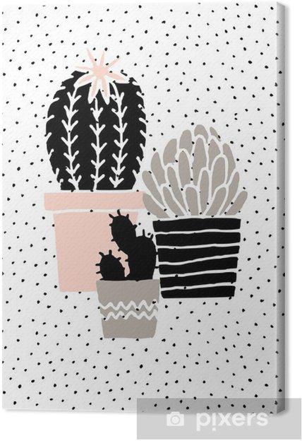Tableau sur toile Hand Drawn Cactus Affiche - Ressources graphiques