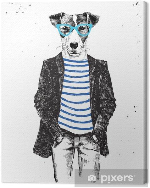 Tableau sur toile Hand Drawn habillé chien dans le style hipster - Animaux
