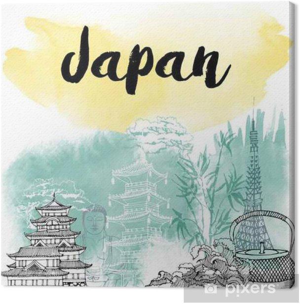 Tableau sur toile Hand drawn Japon - Voyages