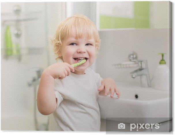 Tableau sur toile Happy kid se brosser les dents - Beauté et soins du corps
