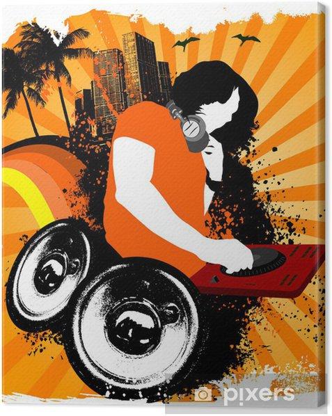 Tableau sur toile Haut-parleurs grunge Dj - Musique