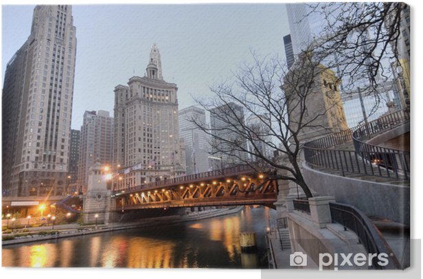 Tableau sur toile HDR du centre-ville de Chicago - Thèmes