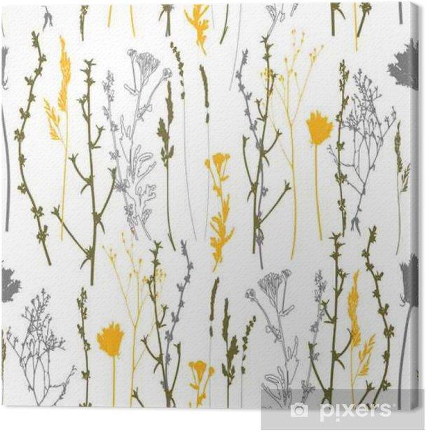 Tableau sur toile Herbes de pré, herbes et fleurs contours modèle sans couture de vecteur. - Plantes et fleurs