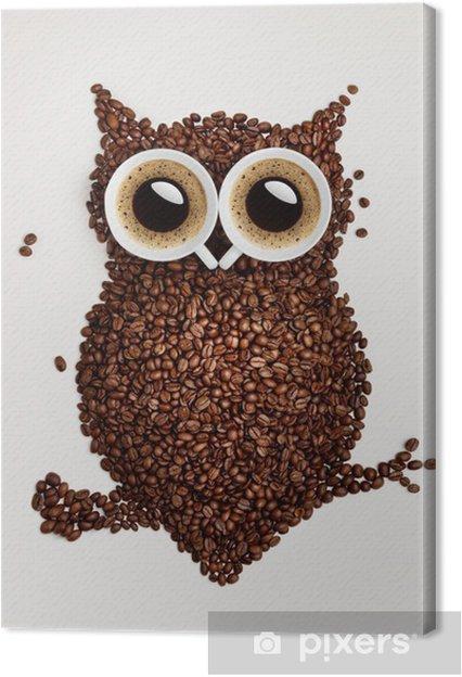 Tableau sur toile Hibou de café. -