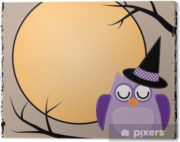 Tableau sur toile Hibou de Halloween avec la lune - Thèmes