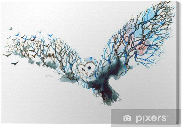 Tableau hibou moderne 2 tableaux sur toile hibou