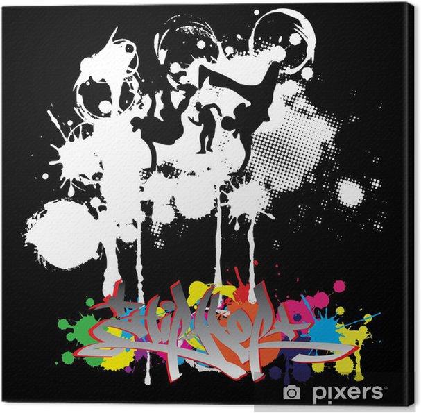 Tableau sur toile Hip-hop silhouettes de danseurs - Art et création