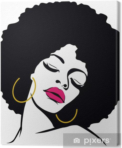 Tableau sur toile Hippie pop art femme de cheveux afro - Thèmes