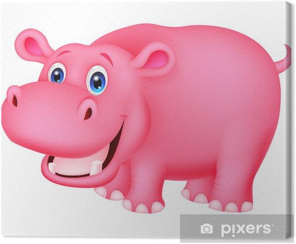 Tableau sur toile Hippopotame mignon dessin animé - Mammifères