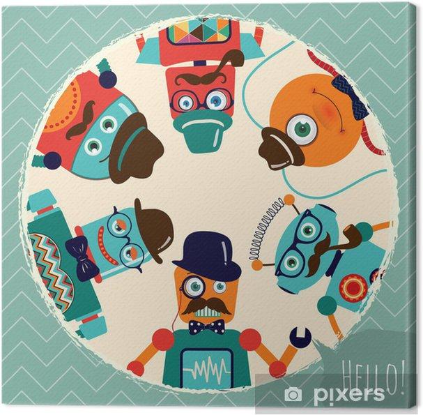 Tableau sur toile Hipster rétros robots Carte Illustration, bannière, fond - Moustache