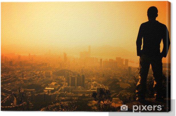 Tableau sur toile Homme debout sur le bord de Hong Kong lion de crête - Liberté