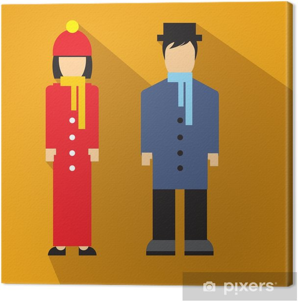 Tableau sur toile Homme et femme icône plate - Ressources graphiques