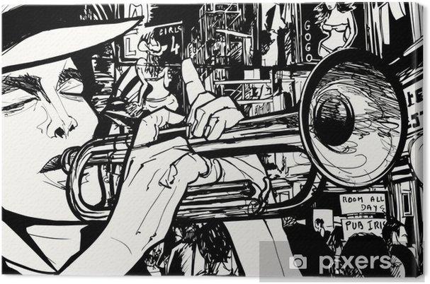 Tableau sur toile Homme jouant de la trompette dans une zone de lumière rouge - Jazz